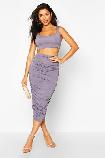 Womens Dark grey Slinky Top And Ruched Midaxi Skirt Co-ord