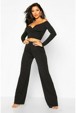 Black Slinky Bardot Top And Wide Leg Trouser Co-Ord