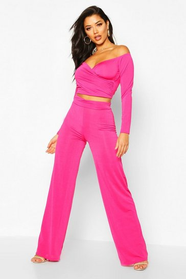 Womens Cerise Slinky Bardot Top And Wide Leg Trouser Co-Ord