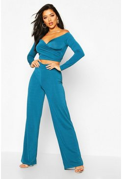 Womens Teal Slinky Bardot Top And Wide Leg Trouser Co-Ord