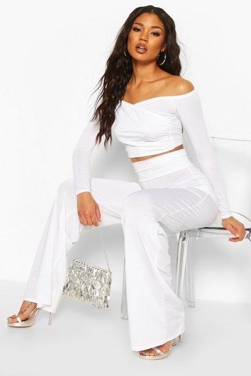 White Slinky Bardot Top And Wide Leg Trouser Co-Ord