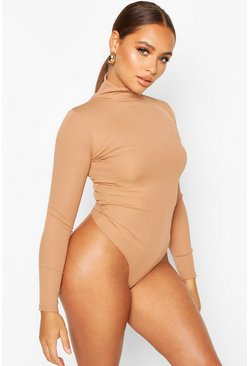 Toffee Turtle Neck Long Sleeve Knitted Rib Bodysuit