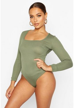 Khaki Rib Knit Square Neck Long Sleeve Bodysuit