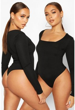 Black 2 Pack Square Neck Knitted Bodysuit