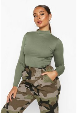 Khaki 2 Pack Crew Neck Rib Knitted Bodysuit