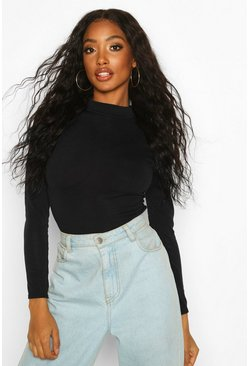 Black Crew Neck Knitted Bodysuit