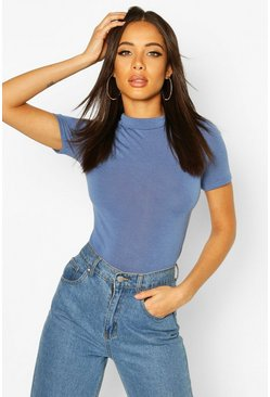 Denim-blue Turtle High Neck Short Sleeved Bodysuit
