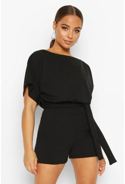 Womens Black Tie Front Playsuit