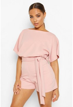 Nude Tie Front Playsuit