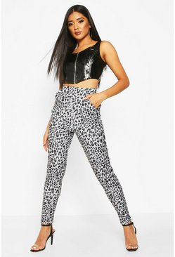 Womens Black Leopard Printed Skinny Trouser