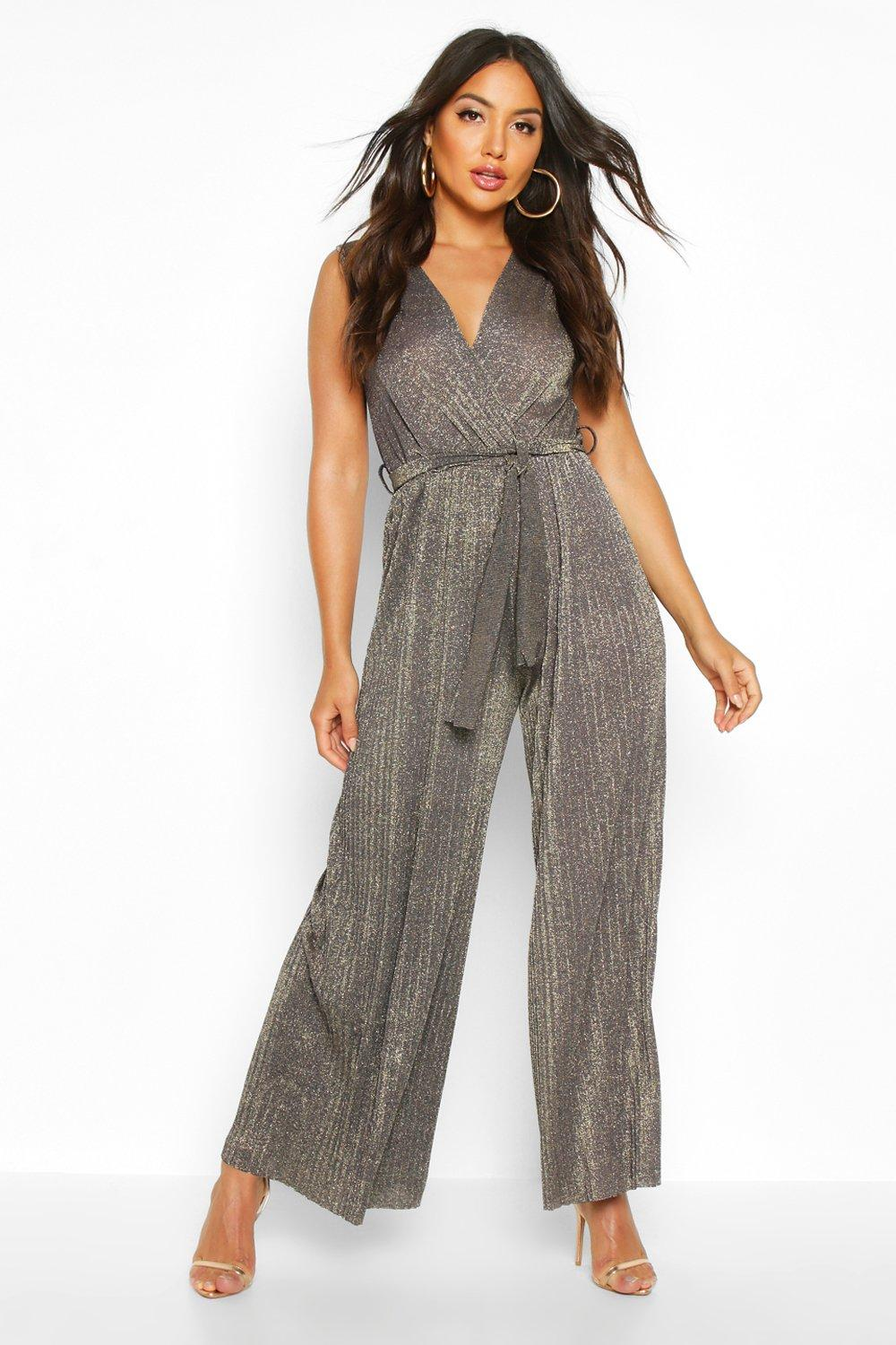 70s Jumpsuit | Disco Jumpsuits – Sequin, Striped, Gold, White, Black Womens Metallic Glitter Wrap Tie Waist Pleated Jumpsuit - navy - SM $46.00 AT vintagedancer.com