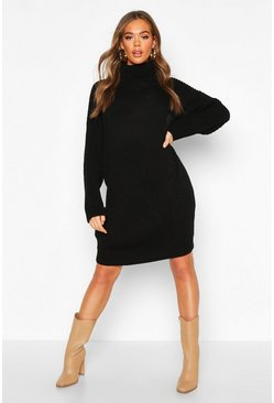 Dam Black Roll Neck Knitted Midi Dress