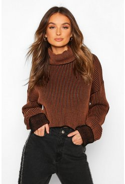 Womens Chocolate Two Tone Rib Knit Roll Neck Crop Jumper