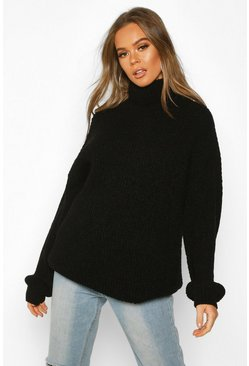 Womens Black Oversized Rib Knit Textured Roll Neck Jumper
