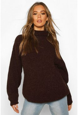 Womens Chocolate Oversized Rib Knit Textured Roll Neck Jumper