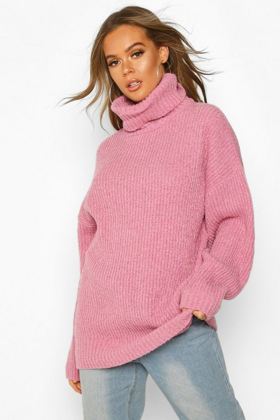 Oversized Rib Knit Textured Roll Neck Jumper