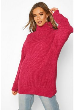 Raspberry Oversized Rib Knit Textured Roll Neck Jumper