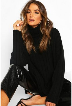 Womens Black Oversized Wide Rib Knit Jumper