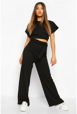 Womens Black Textured Rib Knit Tie Lounge Set
