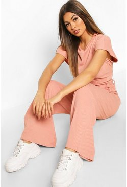 Womens Rose Textured Rib Knit Tie Lounge Set