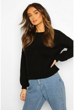 Cable Sleeve Jumper, Black