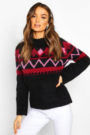 Womens Black Fluffy Christmas Knit Jumper