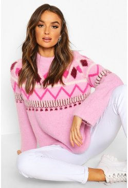 Womens Pink Fluffy Christmas Knit Jumper