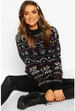 Black Metallic Christmas Knit