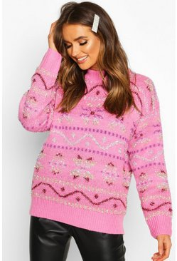 Pink Metallic Christmas Knit