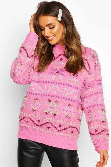 Womens Pink Metallic Christmas Knit