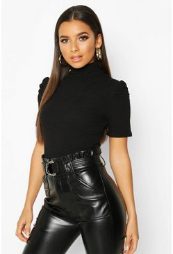 Womens Black High Neck Puff Sleeve Top