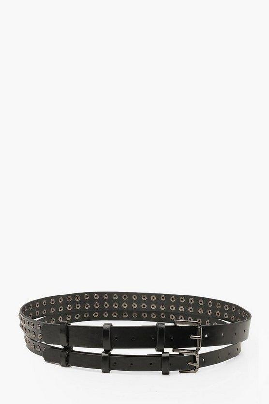 Double Studded Buckle Belt
