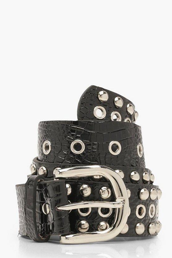 Patent Studded Eyelet Detail Buckle Belt