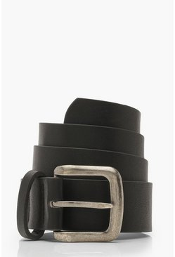 PU Buckle Belt, Black, Donna