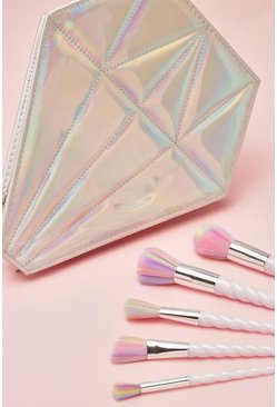 Womens Metallic silver Unicorn Brush Set With Diamond Case