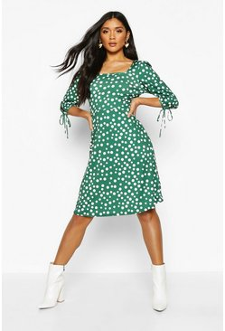 Womens Green Square Neck Midi Dress With Tie Detail Sleeves