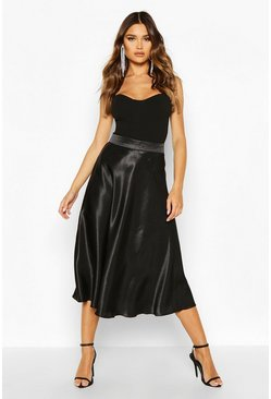 Womens Black Satin Full Midi Skirt