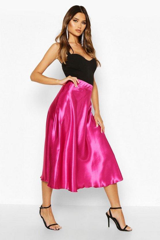 Satin Fall Midi Skirt