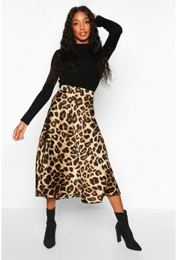 Womens Leopard Satin Full Midi Skirt