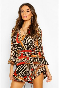 Ivory Mixed Chain Print Wrap Ruffle Playsuit