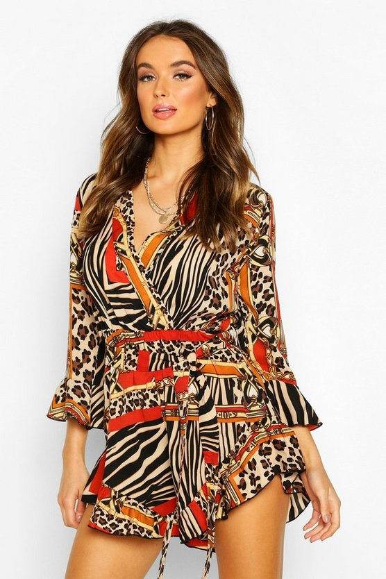 Mixed Chain Print Wrap Ruffle Playsuit