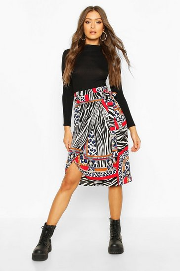 Ivory Mixed Chain Print Wrap Midi Skirt