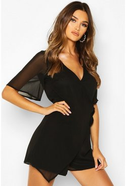 Black Ruffle Wrap Chiffon Playsuit