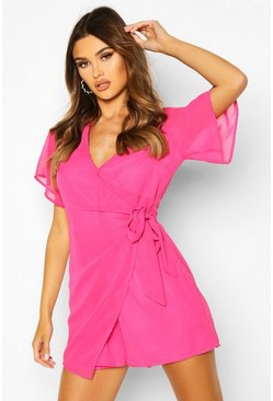 Womens Fushia Ruffle Wrap Chiffon Playsuit