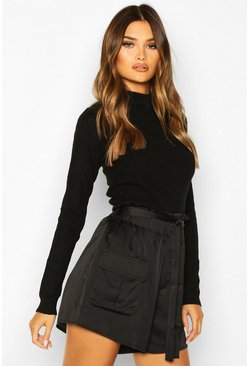 Satin Utility Tie Waist Shorts, Black