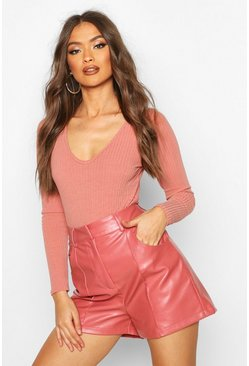 Dusky pink PU Leather Look Seamed Shorts