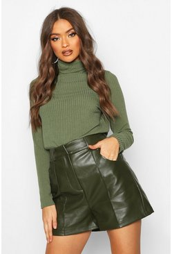 PU Leather Look Seamed Shorts, Khaki