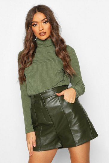 Womens Khaki PU Seamed Shorts
