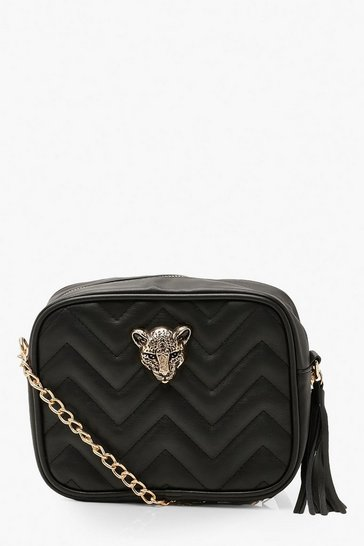 Womens Black Cheetah Hardware Quilted Cross Body Bag