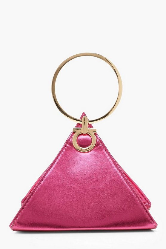 Hot pink Triangle Ring Handle Clutch Bag